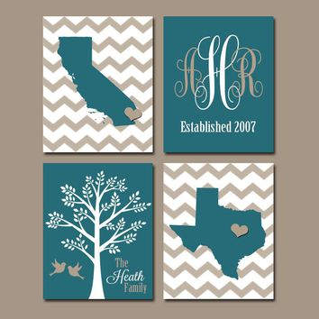 TWO STATES Wall Art, Family Canvas or Prints Family Couple Gift, Personalized Wedding Gift Tree Birds STATE Monogram Est Date Set of 4 Teal