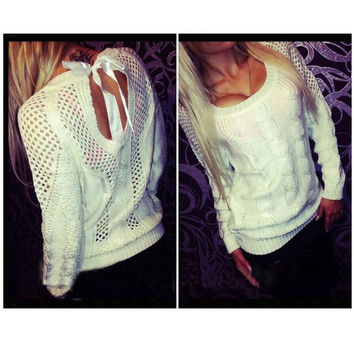 Fashion Sweater Pierced Lace Back Casual = 1920332292