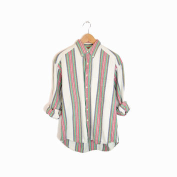 Vintage Vertical Stripe Men's Button Down Shirt in Red White & Green - M
