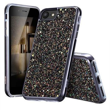 CREYRQ5 iPhone 7 Case,iPhone 6 Case,ESR Bling Glitter Sparkle Dual Layer Shockproof Hard PC Back + Soft TPU Inner Shell Skin for 4.7' iPhone 7/6(Black)