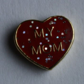 Store Closing Sale - Love My Mom with Glitter Gold Metal Floating Charm for Glass Lockets 504