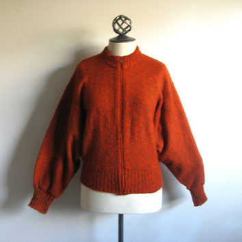 Vintage 1980s Russet Cardigan Russet Bat Wing Zip Up Sport Knit Sweater Medium