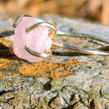 Rough Natural Morganite Claw Ring/Size 7/ Morganite Ring/ 14k Rose Gold Filled/ Pink Stone/ Rough Natural Ring/ Gemstone Ring/ Boho Ring
