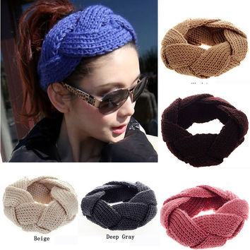 Lovely Elastic Stretch Crochet Twist Knitted Girl Headbands Winter Warmer Hair Bands for Women Headwear Accessories
