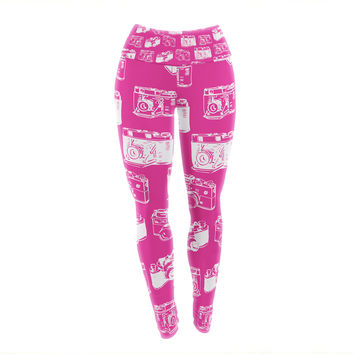 "KESS Original ""Camera Pattern"" Magenta Yoga Leggings"