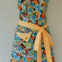 Route 66 Apron , Retro Style , Womens Full Apron , Americana , 50's Road Trip , Rte 66 , KitschNStyle