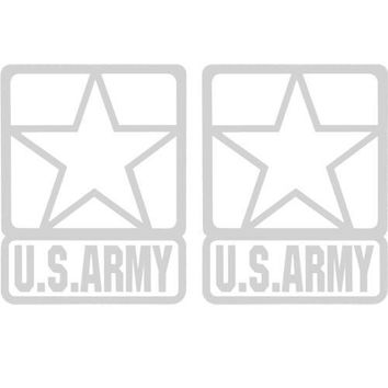 """U.S. Army Star 4"""" Clear Tail Light White Decal 2 pc."""