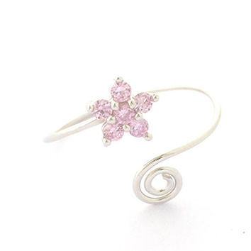 Hawaiian Jewelry Pink CZ Plumeria Flower Toe Ring from Hawaii