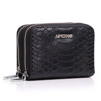 APHISON Ladies Genuine Leather Wallet RFID Blocking Credit Card Holder Double Zipper Purse For Women