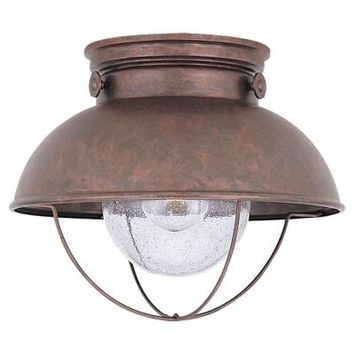 Sea Gull Lighting Sebring 1-Light Outdoor Weathered Copper Ceiling Fixture-8869-44 at The Home Depot
