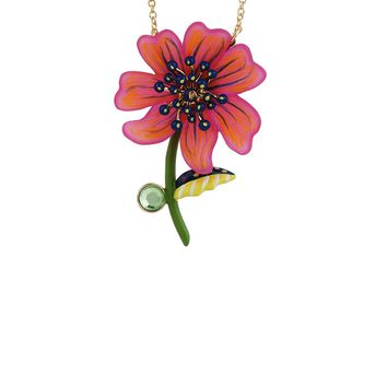 N2 by Les Néréides ENERGETIC BOTANY FUCHSIA COSMOS NECKLACE