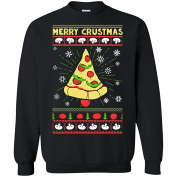 Pizza Lovers Ugly Christmas Sweater Merry Crustmas