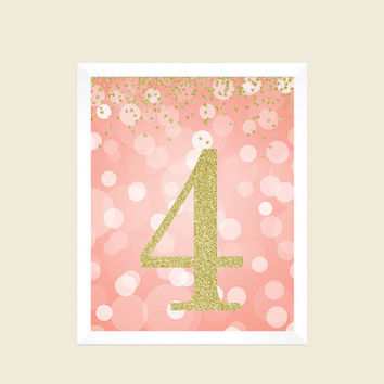 Coral and Gold Glitter, 4th Birthday Party Sign, Number 4, 4th Birthday Party, Fourth Birthday, Printable Party Decorations, Digital Print
