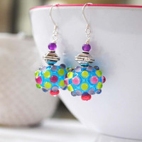 Blue Glass Earrings, Dotted Earrings, Light Weight Hollow Earrings, Polka Dot Earrings, Colorful Earrings, Funky Modern Earrings