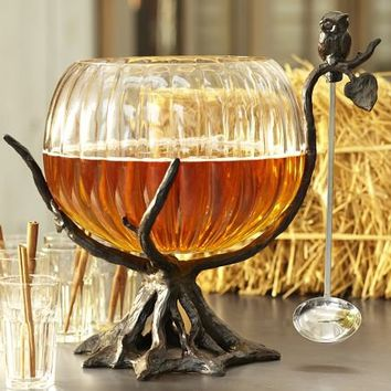 Owl Tree Punch Bowl Stand with Ladle