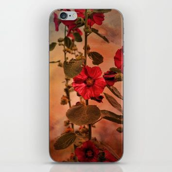 Mid-Summer Hollyhocks iPhone & iPod Skin by Theresa Campbell D'August Art