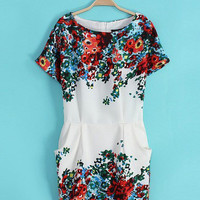 White Floral Print Short Sleeve Shift Mini Dress