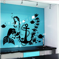 Wall Decal Mermaid Fish Anime Girl Stickers Marine Design Room Decor D528