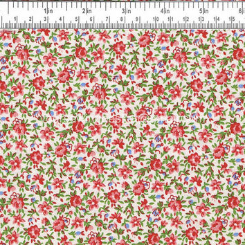 Floral Rose Chintz Fabric, Cotton Quilting Farbic, 1.5 yards
