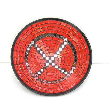 Neon red fruit bowl glass mosaic Flaming Poppy with mirror spicy home decor gift handmade
