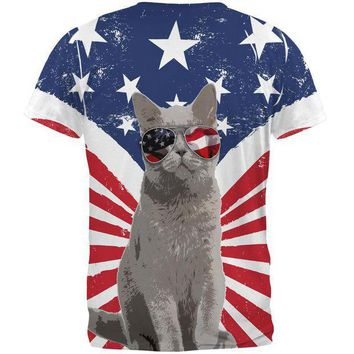 CREYCY8 4th Of July Meowica America Patriot Cat All Over Mens T Shirt