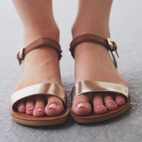 Sunny Side Up Brown And Gold Sandals