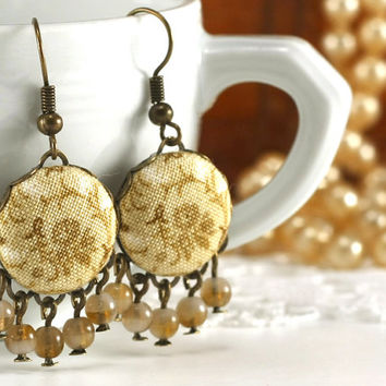 Dangle Earrings - Antique Tendrils - Beige Tan and Brown Flowers Romantic Fabric Covered Buttons Jewelry Czech Glass Beads - Vintage Style