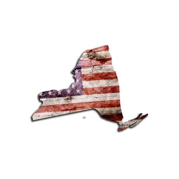 New York Distressed Tattered Subdued USA American Flag Vinyl Sticker