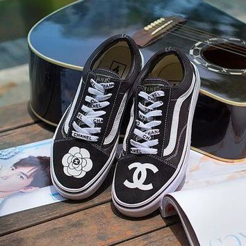 Vans X Chanel Fashion Women Men Casual Canvas Low Tops Flats Shoes Sneakers Sport Shoes I