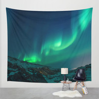 Wall Tapestry, Mountain Tapestry, Wall Hanging, Northern Lights Aurora Borealis Sky,Nature Large Photo Wall Art, Modern Tapestry, Home Decor