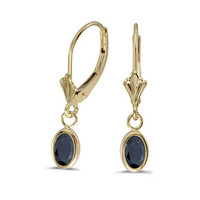14K Yellow Gold Oval Sapphire Bezel Lever-back Earring  (1 ct tgw)
