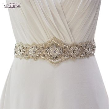 Belts Bridal Rhinestones Pearls Wedding evening dress sash Belts
