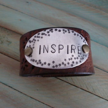 Inspire Stamped on a Leather Cuff Bracelet