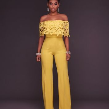 2018 New Sexy Club Wear Overalls For Women Jumpsuits Playsuits Off the Shoulder Lace Loose Long Rompers Pants Red Blue Yellow