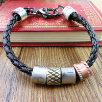 2-Pack Leather Bracelets and Necklace-  Wristband - Great For Men, Women, Teens, Boys, Girls 2595s