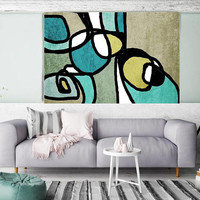 """Vibrant Colorful Abstract-0-38. Mid-Century Modern Green Canvas Art Print, Mid Century Modern Canvas Art Print up to 72"""" by Irena Orlov"""