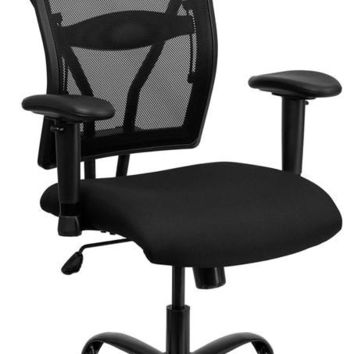 Series 400 lb. Capacity Big & Tall Black Mesh Executive Swivel Office Chair with Height Adjustable Arms