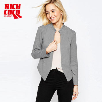 Fashion Autumn Women Slim Long Sleeve Button Business Casual Suit Outerwear Jacket a13155