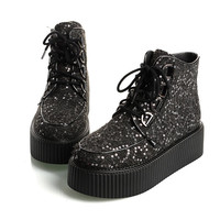 2014 Women's Sheet Metal Graffiti Pattern Sexy High Top Lace Up Flat PlatForm Women's Goth Creepers Shoes Punk Pumps Warm Ankle Martin Boots