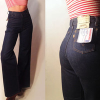 "Unworn Vintage 1970's Levi's Orange Tab 25x34 26x34 DEADSTOCK Rare Bell Bottoms || Size 2 Size 4 Size 25 Size 26 34"" Length"