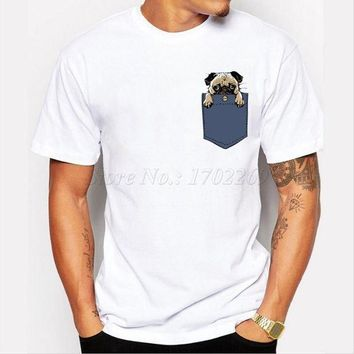 PEAPFS2 Newest Pugturday Men t-shirt pug in pocket design male funny tops cartoon printed hipster short sleeve casual cool tee MT983