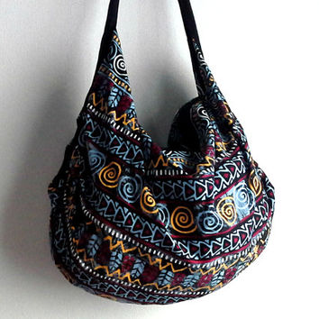 Hippie Crossbody Purse Bag, Aztec Slouch bag, Tribal print pattern bag, Vibrant Colorful Hobo bag, Summer Beach Tote Shoulder bag
