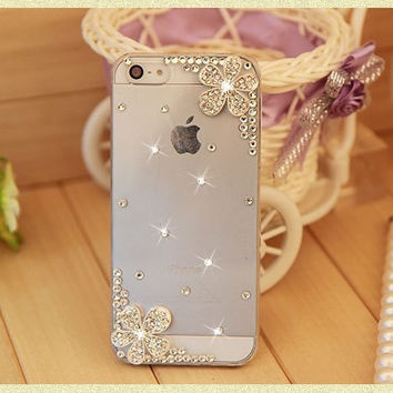 3D Bling Crystal Rhinestone Peacock Eiffel Ballet Girl Daisy Cherry Cross Back Hard Phone Case Cover