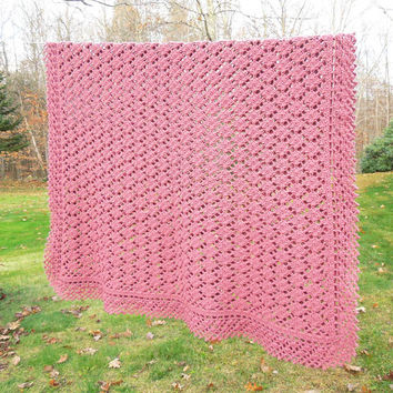 "Rose mauve crochet blanket afghan with lace-pattern border - Vintage dark-rose afghan 83"" x 55"""