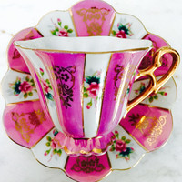 Shafford Occupied Japan Pink Panel Lustreware Tea Cup and Saucer