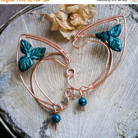 Copper elf earcuffs with colored spoted bead, elf ear cuffs, elven earcuffs , statement earrings, woodland, vulcan ears ,green, malachite
