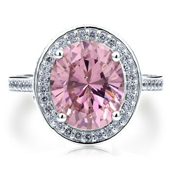 Sterling Silver 925 Oval Pink Cubic Zirconia CZ Halo Cocktail Ring #r606