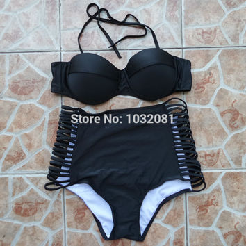 Sexy bra push up bikini High waist swimsuit with side cut strappy bottom Vintage bathing suit Retro Pin up swimwear biquini V108