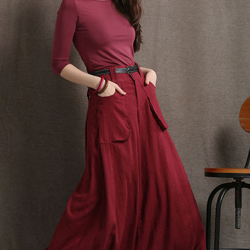 Red Linen Wide Leg Pants - Maxi Skort Long Culottes or Baggy Trousers with Deep Front Pockets C410