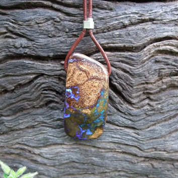 Earthy Boulder opal pendant on leather with by NaturesArtMelbourne